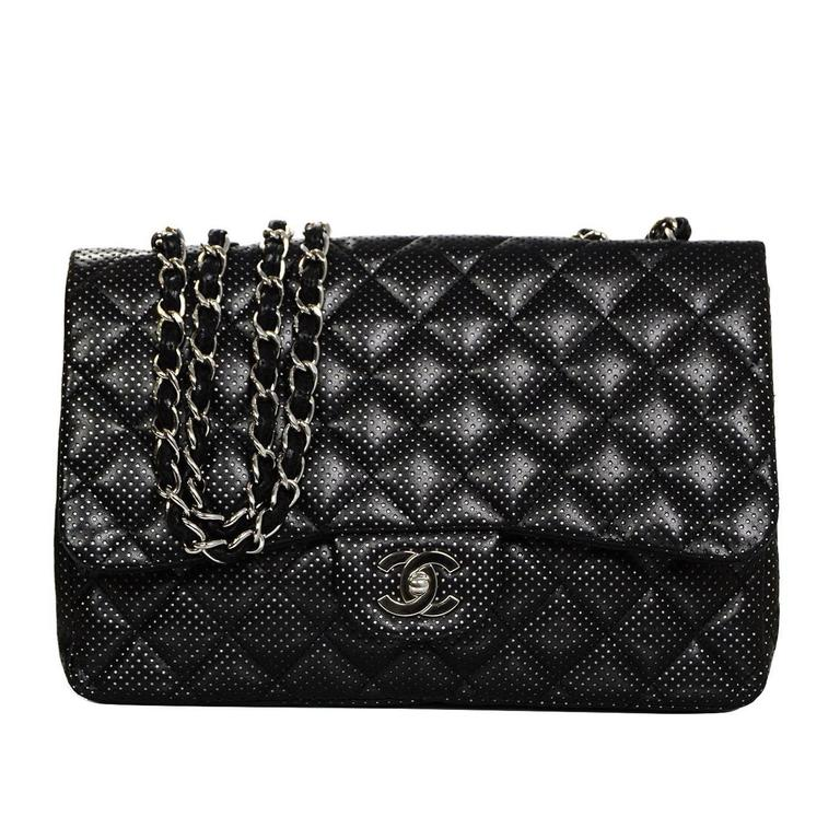b0f3d4115b61f2 Chanel Black Perforated Jumbo Quilted Classic Flap Bag SHW For Sale ...
