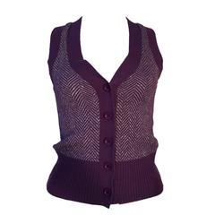 Vintage BIBA 1970s Purple Silver Metallic Herringbone Tank Top Knitted Sleeveles