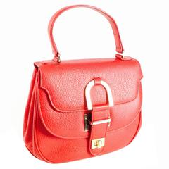 Vintage Oscar de la Renta Red Leather Top Handle Double Flap Saddle Bag