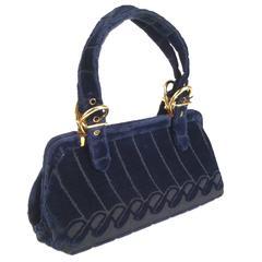 1970s Roberta di Camerino Blue Velvet Frame Handbag