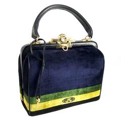 1970s Roberta di Camerino Blue Green Yellow Velvet Doctor Bag