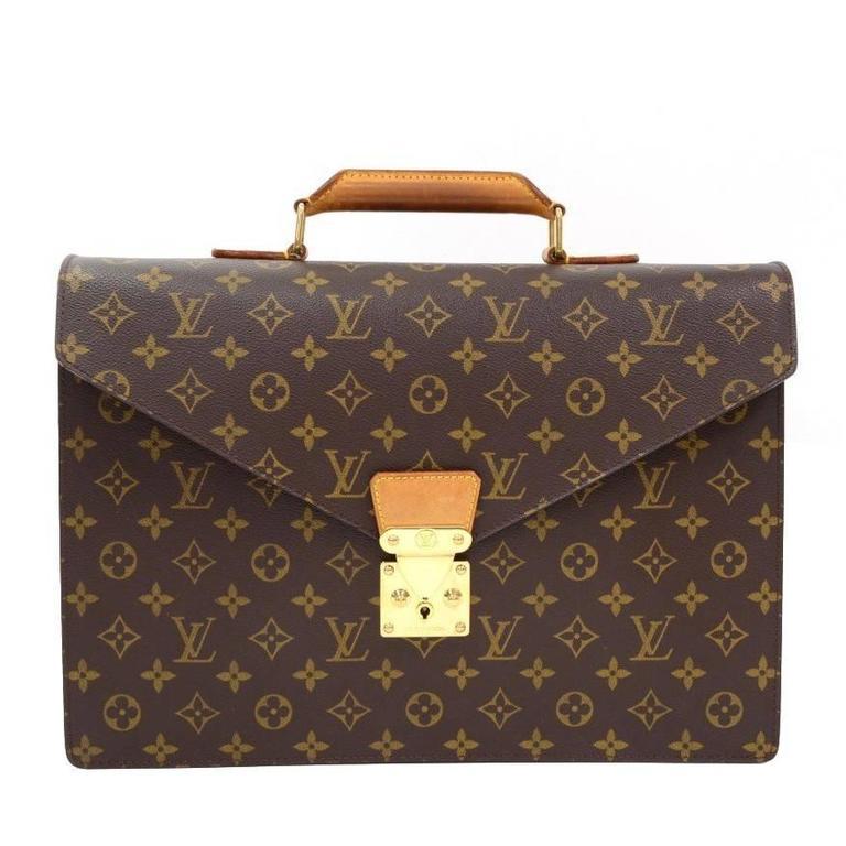 9bd1bd7d0f87 Louis Vuitton Vintage Rare Monogram Canvas Men s Briefcase Laptop Business  Bag For Sale