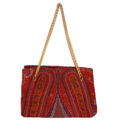 1970s Kashmir Wool Paisley Vintage Shoulder Bag by Artbag