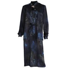 1990s Midnight Blue, Galaxy Print Silk Vintage Dress and Overshirt