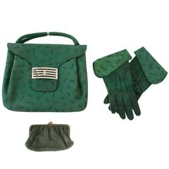 Late 1950s Embossed Green Suede and Leather Handbag with Matching Gloves