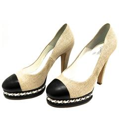 New Chanel Shoes - 8.5 - Platform Heels - Pump w/ Iconic Chain