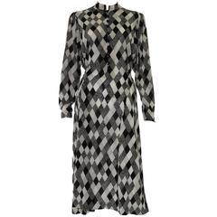 1970s Black & White Spotted Chiffon Tricosa Paris Vintage Dress