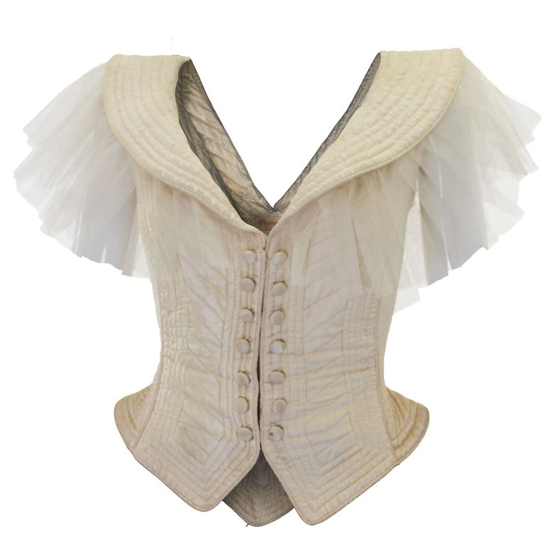 1970s Ivory Quilted Satin Corset Style Vintage Waistcoat by Penny Green For Sale
