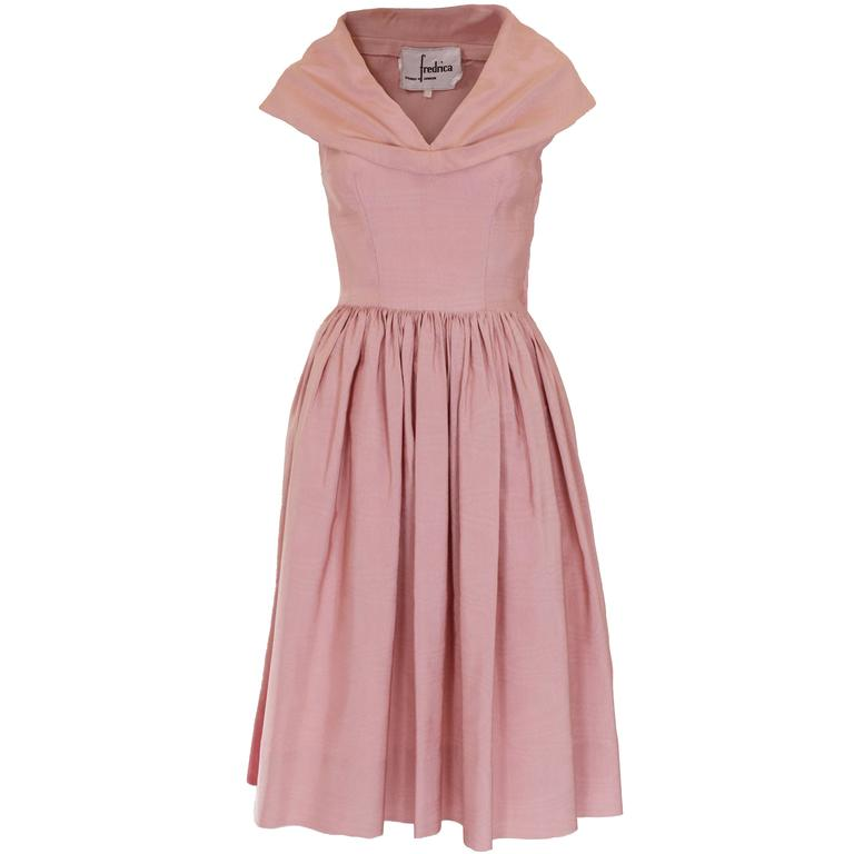 1950s Dusty Pink Prom Style Vintage Dress For Sale