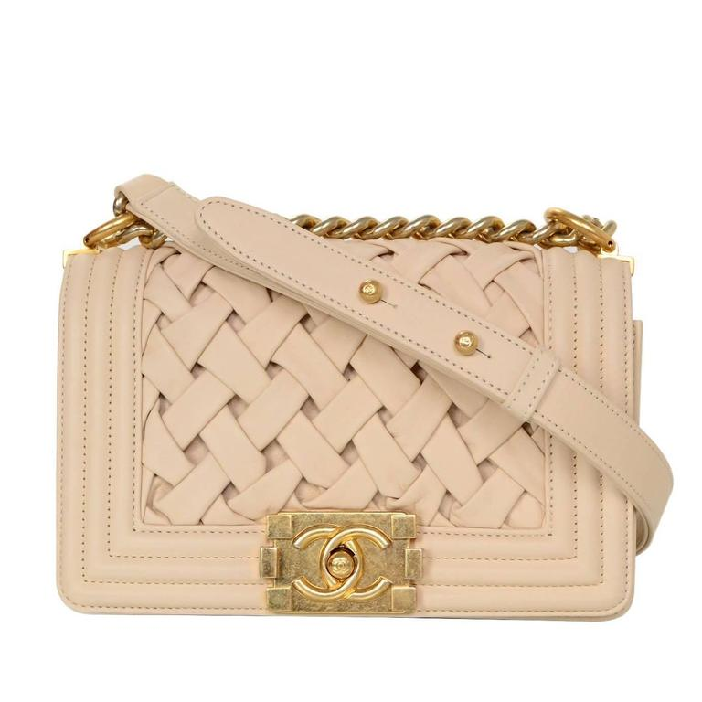 3ef378c82245 Chanel Limited Edition Beige Woven Leather Chateau Boy Bag GHW rt. $6,200  For Sale