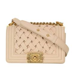Chanel Limited Edition Beige Woven Leather Chateau Boy Bag GHW rt. $6,200