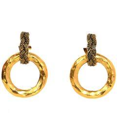 Chanel Braided Vintage Goldtone Clip-On Earrings