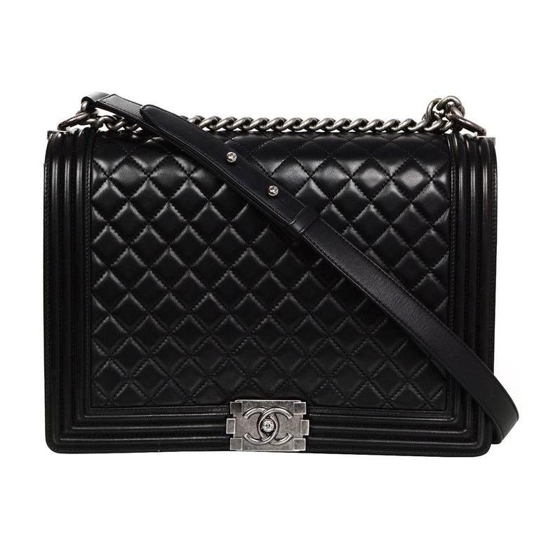 Chanel Black Leather Quilted Large Boy Flap Bag at 1stdibs : chanel quilted black handbag - Adamdwight.com