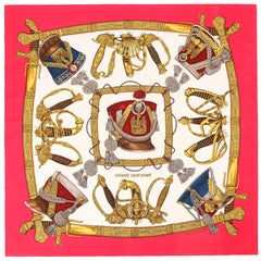 "HERMES c.1985 Joachim Metz ""Grand Uniforme"" Red Sword Military Print Silk Scarf"