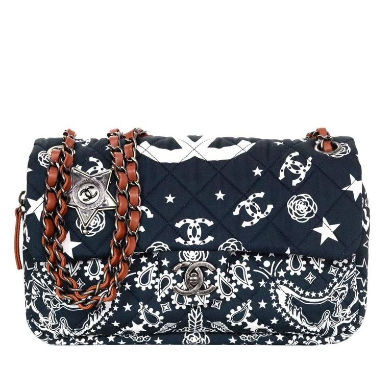 2ad5b0c908a6 Chanel Navy Paris/Dallas Fabric Paisley Easy Flap Bag For Sale at ...