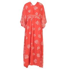 Red Felted Floral Maxi  Dress