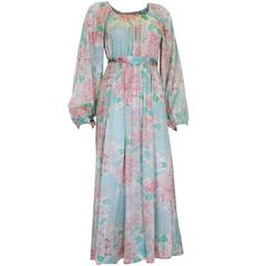 1970s Pastel Coloured Floral Print Jersey Dress