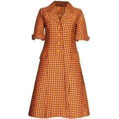 1960s Orange & Black Spotted Vintage Coat Dress