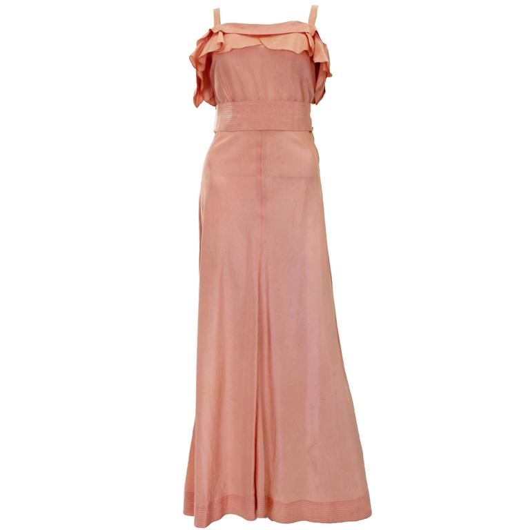1940s Peach Ruffle Necked Slip Style Evening Gown For Sale at 1stdibs