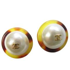 1997 Chanel Tortoise Lucite and Faux Pearl Earrings -sale