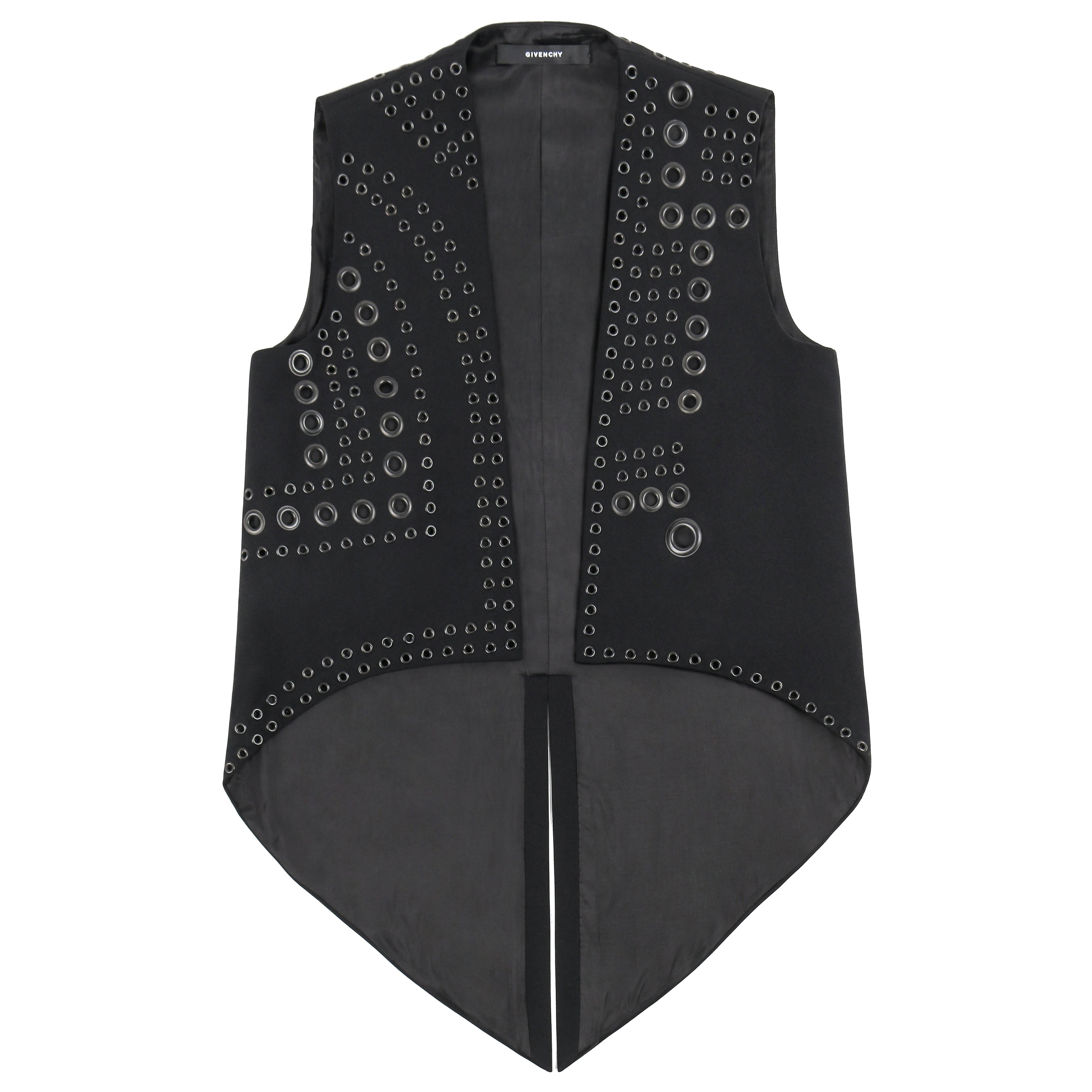GIVENCHY c.2011 Black Gunmetal Grommet Detail Elongated Coattail Vest Size 36