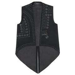 GIVENCHY c.2011 Black Gunmetal Grommet Detail Elongated Coattail Vest Size 36