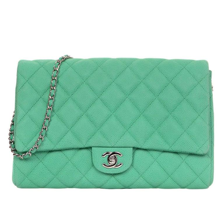 820fa6d3a122 Chanel Seafoam Green Quilted Caviar Leather Timeless Clutch Bag CWC rt.   3