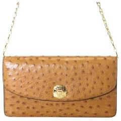 Celine Rare Vintage Cognac Ostrich Evening 2 in 1 Chain Clutch Shoulder Flap Bag
