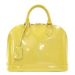 Louis Vuitton Alma Lime Green Vernis Leather Hand Bag