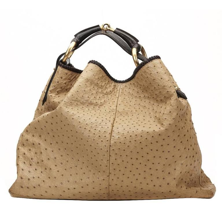 a45049da12bfd3 2000s Gucci Beige Ostrich Leather Horsebit Hobo Bag For Sale.