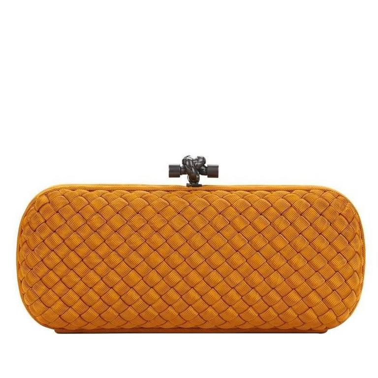 2000s Bottega Veneta Burnt Orange Woven Faille Silk Long Knot Clutch 1