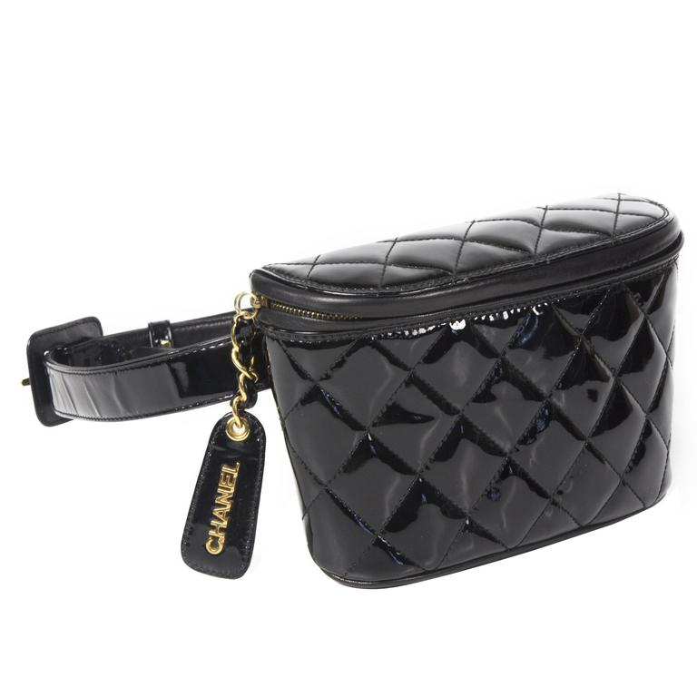 Chanel Fanny Pack Belt Bag Black Patent Leather Quilted