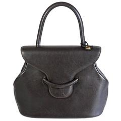 Delvaux Brown Pebbled Leather Top Handle Bag