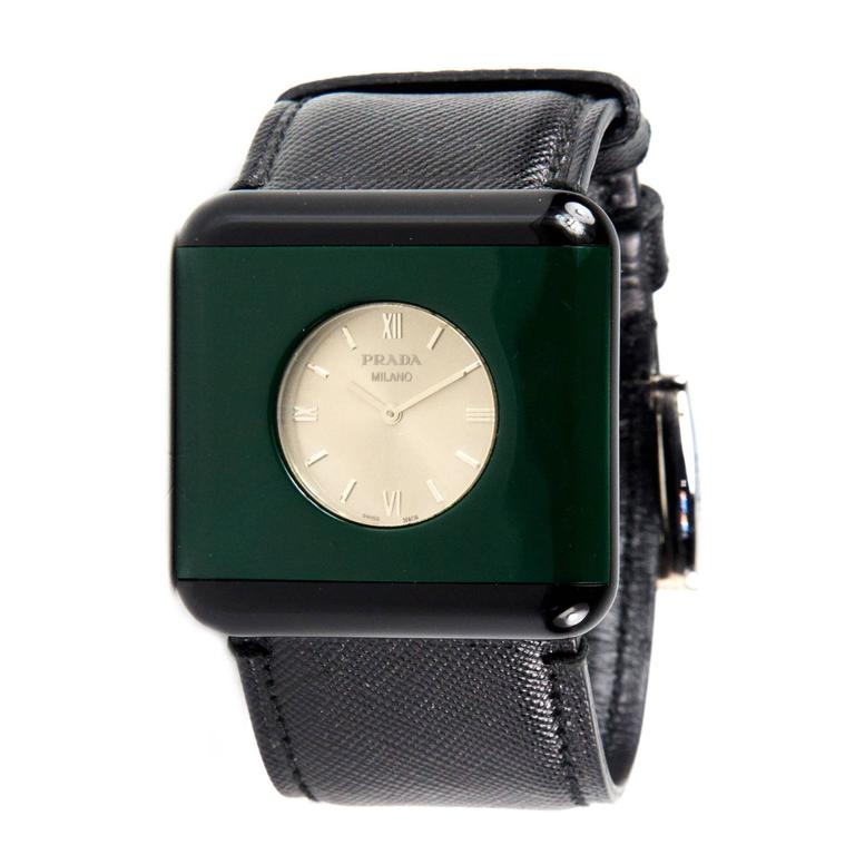 prada unisex black saffiano leather green resin