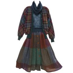 Missoni Knit Plaid Tweed Mohair Skirt Suit, Circa 1980's