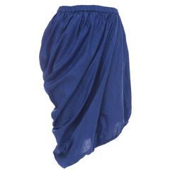 Issey Miyake Cobalt Blue Cotton Skirt With Asymmetrical Hemline, Circa 1980's