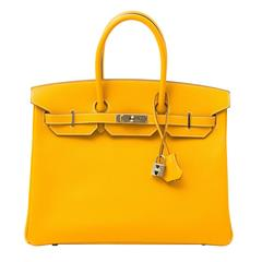 **RARE**Hermes Birkin 35cm CANDY collection jaune/yellow d'or permabrass epsom