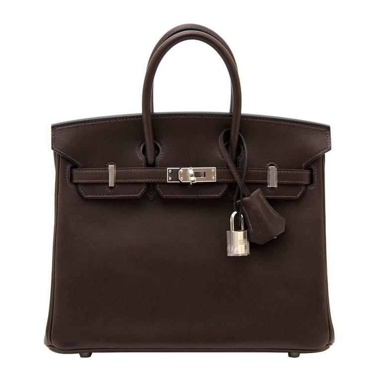 Hermes 25 Ebene Barenia Birkin Bag
