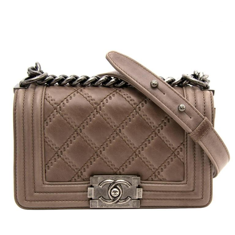 69f5210b013c8e Chanel Taupe Quilted Boy Bag Small at 1stdibs
