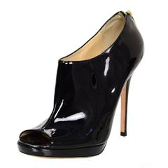 Jimmy Choo Black Patent Leather Booties Sz 39.5