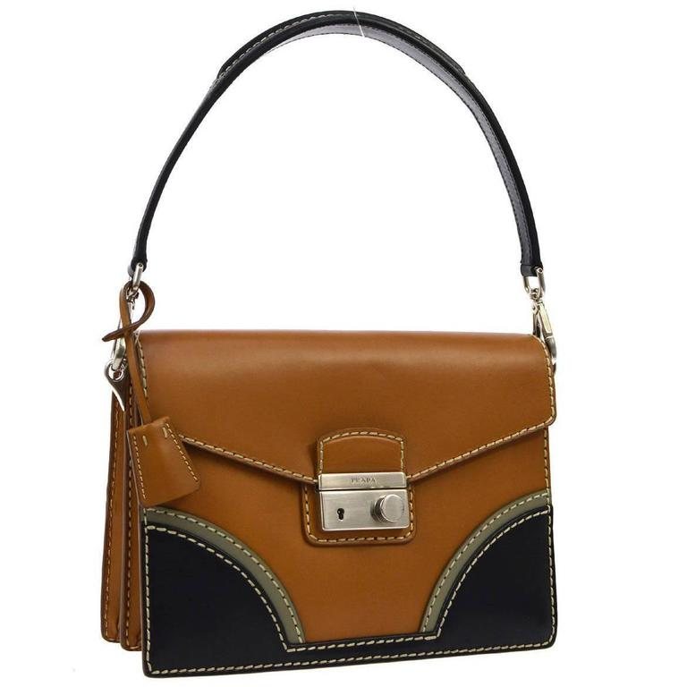Prada Cognac Leather Colorblock Kelly Style Top Handle Satchel Flap Bag For Sale