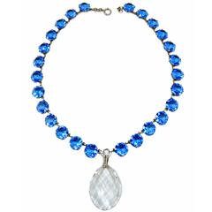 Vintage Art Deco Blue & Clear Crystal Necklace