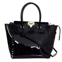 Valentino Black Patent Leather Rockstud Tote Bag