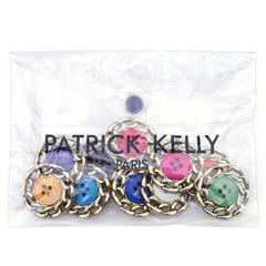 Patrick Kelly 1980s Whimsical Button Brooches in Pouch
