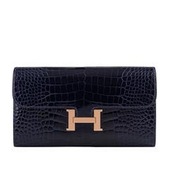 Hermes Blue Marine Alligator Constance Long Clutch Wallet