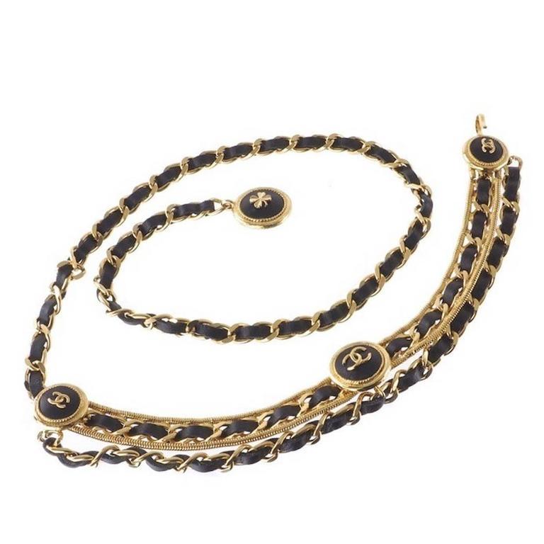 Chanel Rare Vintage Gold Charm Medallion Coin Leather Multi Chain Waist Belt 1