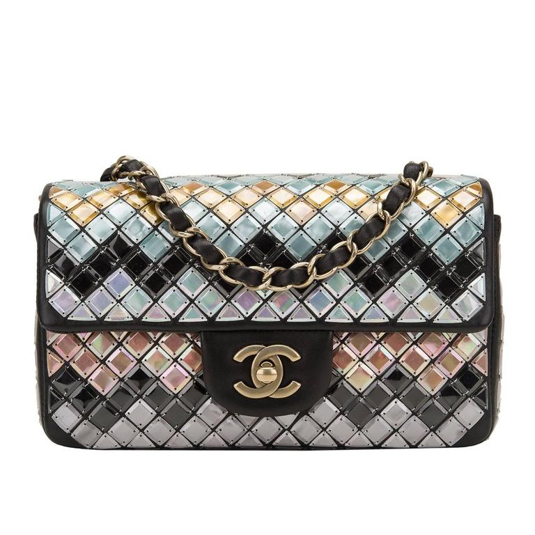 Chanel Black Mosaic Embroidered Small Flap Bag NEW For Sale