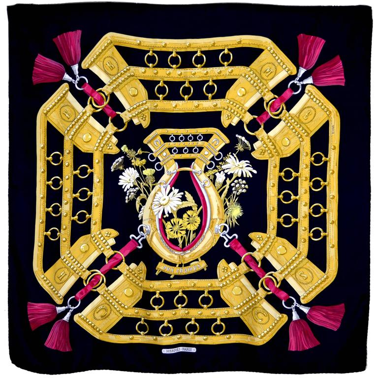 """Hermes Silk """"Aux Champs"""" Scarf"""