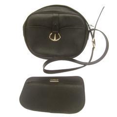 Christian Dior Black Saddle Style Shoulder Bag c 1980s