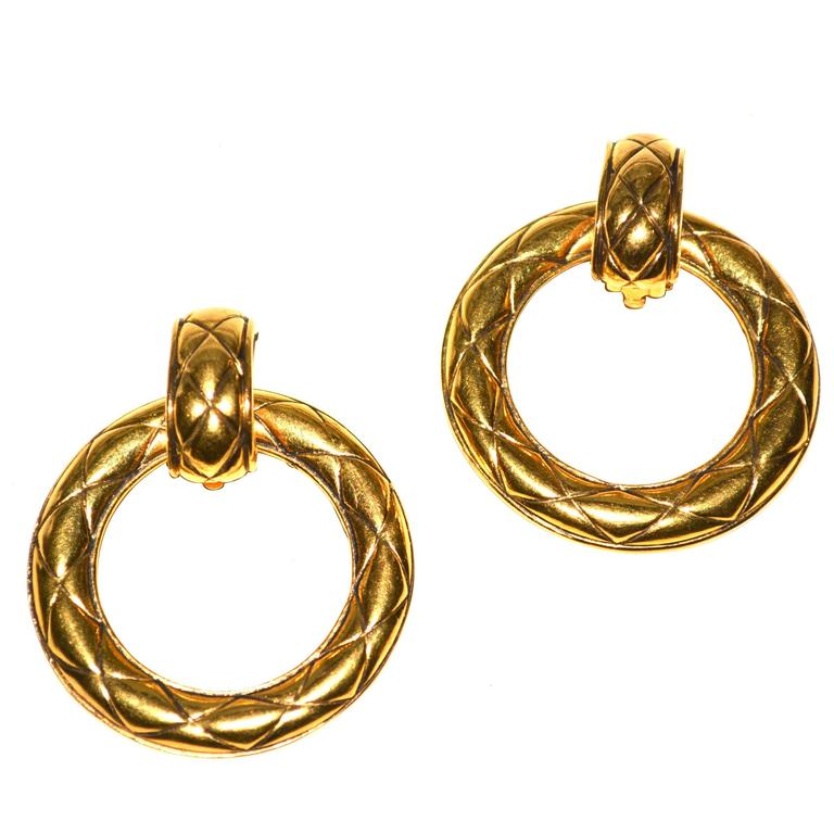 Oversized Chanel Door Knocker Quilted Earrings For Sale